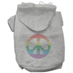 Mirage Pet Products Rhinestone Rainbow Peace Sign Hoodies Grey M (12)