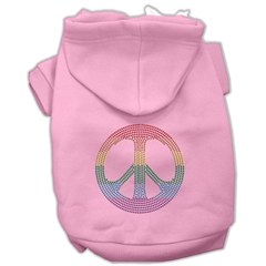 Mirage Pet Products Rhinestone Rainbow Peace Sign Hoodies Pink XS (8)