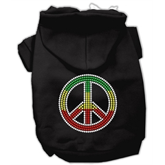Mirage Pet Products Rasta Peace Sign Hoodie Black XXXL(20)