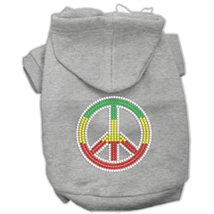Mirage Pet Products Rasta Peace Sign Hoodie Grey M (12)