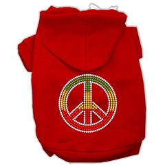 Mirage Pet Products Rasta Peace Sign Hoodie Red XL (16)