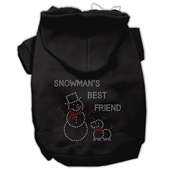 Mirage Pet Products Snowman's Best Friend Rhinestone Hoodie Black XXL (18)