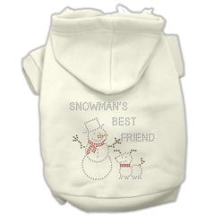 Mirage Pet Products Snowman's Best Friend Rhinestone Hoodie Cream L (14)