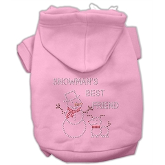 Mirage Pet Products Snowman's Best Friend Rhinestone Hoodie Pink XXL (18)