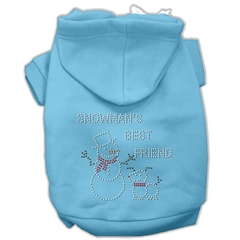 Mirage Pet Products Snowman's Best Friend Rhinestone Hoodie Baby Blue XS (8)