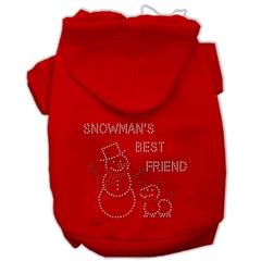 Mirage Pet Products Snowman's Best Friend Rhinestone Hoodie Red XXXL(20)