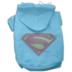 Mirage Pet Products Super! Rhinestone Hoodies Baby Blue XXXL(20)