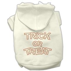 Mirage Pet Products Trick or Treat Rhinestone Hoodies Cream XS (8)