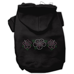 Mirage Pet Products Tropical Flowers Rhinestone Hoodies Black S (10)