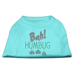 Mirage Pet Products Bah Humbug Rhinestone Dog Shirt Aqua XS (8)