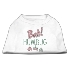 Mirage Pet Products Bah Humbug Rhinestone Dog Shirt White Lg (14)