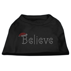 Mirage Pet Products Believe Rhinestone Shirts Black XXL (18)
