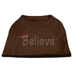 Mirage Pet Products Believe Rhinestone Shirts Brown XXL (18)