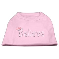 Mirage Pet Products Believe Rhinestone Shirts Light Pink L (14)
