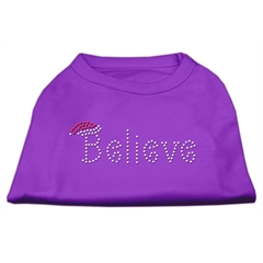 Mirage Pet Products Believe Rhinestone Shirts Purple L (14)