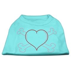 Mirage Pet Products Heart and Crossbones Rhinestone Shirts Aqua XXXL(20)