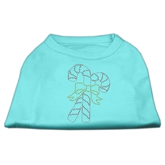 Mirage Pet Products Candy Cane Rhinestone Shirt Aqua XL (16)