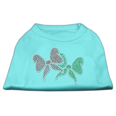 Mirage Pet Products Christmas Bows Rhinestone Shirt Aqua XS (8)