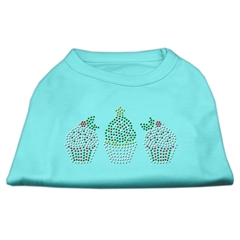 Mirage Pet Products Christmas Cupcakes Rhinestone Shirt Aqua S (10)