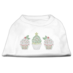Mirage Pet Products Christmas Cupcakes Rhinestone Shirt White XXXL(20)