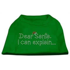 Mirage Pet Products Dear Santa I Can Explain Rhinestone Shirts Emerald Green Sm (10)