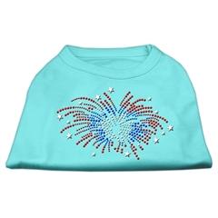 Mirage Pet Products Fireworks Rhinestone Shirt Aqua XXXL(20)