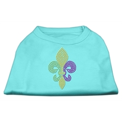 Mirage Pet Products Mardi Gras Fleur De Lis Rhinestone Dog Shirt Aqua Lg (14)