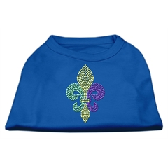Mirage Pet Products Mardi Gras Fleur De Lis Rhinestone Dog Shirt Blue Lg (14)
