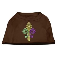 Mirage Pet Products Mardi Gras Fleur De Lis Rhinestone Dog Shirt Brown XL (16)
