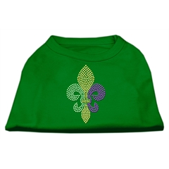 Mirage Pet Products Mardi Gras Fleur De Lis Rhinestone Dog Shirt Emerald Green Med (12)