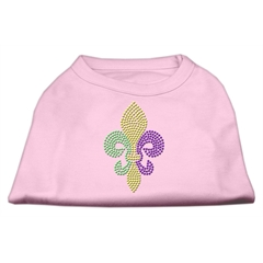 Mirage Pet Products Mardi Gras Fleur De Lis Rhinestone Dog Shirt Light Pink XL (16)