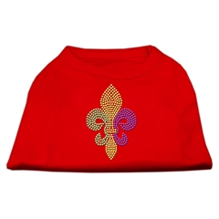 Mirage Pet Products Mardi Gras Fleur De Lis Rhinestone Dog Shirt Red XXL (18)