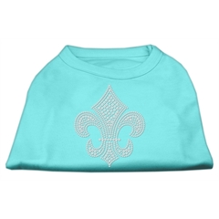 Mirage Pet Products Silver Fleur de lis Rhinestone Shirts Aqua XXL (18)