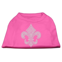Mirage Pet Products Silver Fleur de lis Rhinestone Shirts Bright Pink S (10)