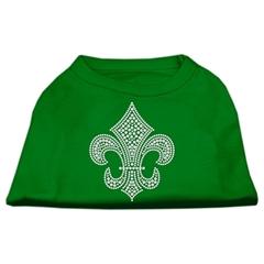Mirage Pet Products Silver Fleur de Lis Rhinestone Shirts Emerald Green XXL (18)