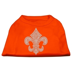 Mirage Pet Products Silver Fleur de Lis Rhinestone Shirts Orange Lg (14)