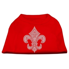 Mirage Pet Products Silver Fleur de lis Rhinestone Shirts Red XS (8)
