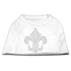 Mirage Pet Products Silver Fleur de lis Rhinestone Shirts White M (12)