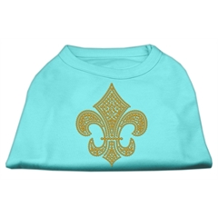 Mirage Pet Products Gold Fleur De Lis Rhinestone Shirts Aqua S (10)
