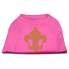 Mirage Pet Products Gold Fleur De Lis Rhinestone Shirts Bright Pink L (14)