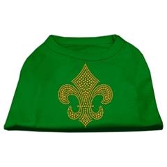 Mirage Pet Products Gold Fleur de Lis Rhinestone Shirts Emerald Green XXXL (20)