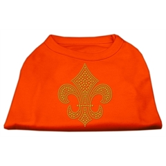 Mirage Pet Products Gold Fleur de Lis Rhinestone Shirts Orange XL (16)
