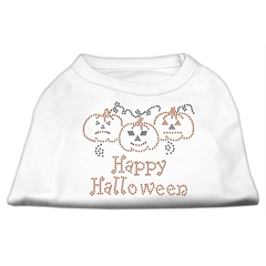 Mirage Pet Products Happy Halloween Rhinestone Shirts White L (14)