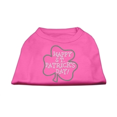 Mirage Pet Products Happy St. Patrick's Day Rhinestone Shirts Bright Pink XXL (18)