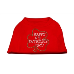 Mirage Pet Products Happy St. Patrick's Day Rhinestone Shirts Red M (12)
