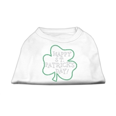 Mirage Pet Products Happy St. Patrick's Day Rhinestone Shirts White L (14)
