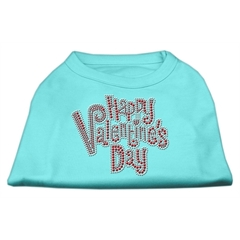 Mirage Pet Products Happy Valentines Day Rhinestone Dog Shirt Aqua Med (12)