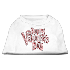 Mirage Pet Products Happy Valentines Day Rhinestone Dog Shirt White XXL (18)