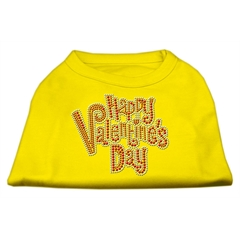 Mirage Pet Products Happy Valentines Day Rhinestone Dog Shirt Yellow XS (8)