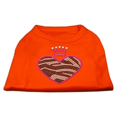 Mirage Pet Products Zebra Heart Rhinestone Dog Shirt Orange Sm (10)